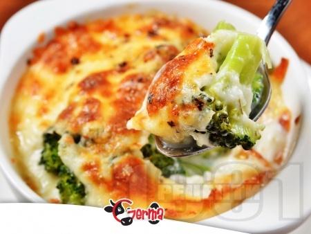 Запечени броколи огретен с течна сметана, яйца, прясно мляко и кашкавал - снимка на рецептата